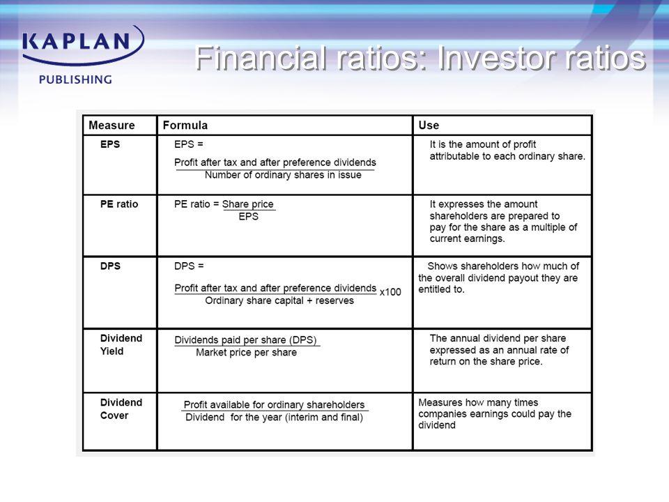 Financial ratios: Investor ratios