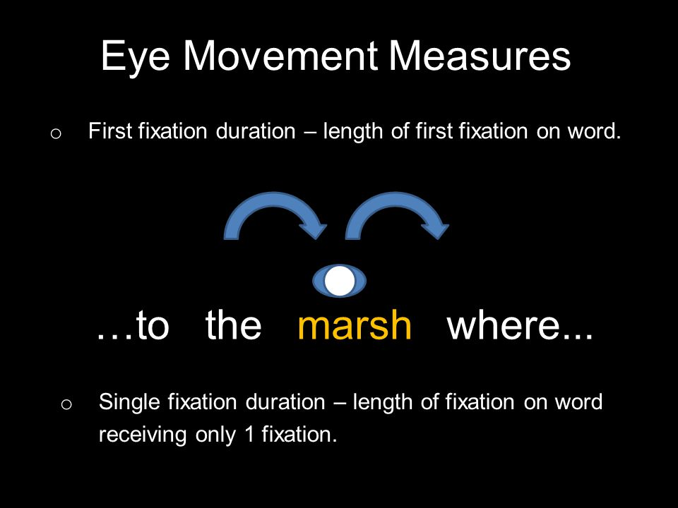 Eye Movement Measures o First fixation duration – length of first fixation on word.