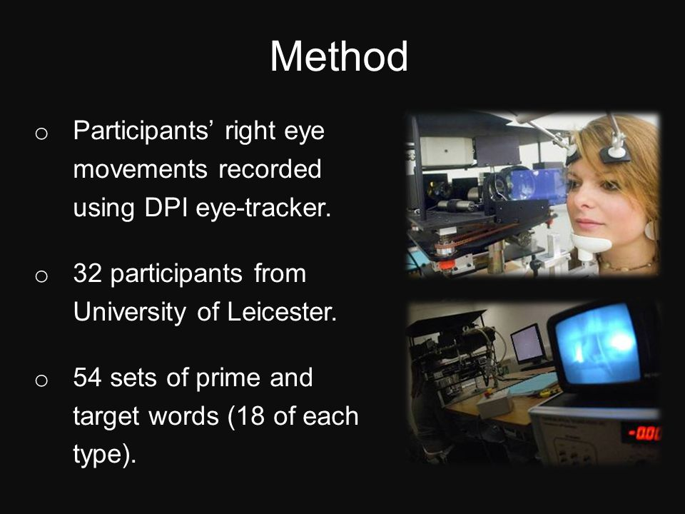 Method o Participants' right eye movements recorded using DPI eye-tracker.