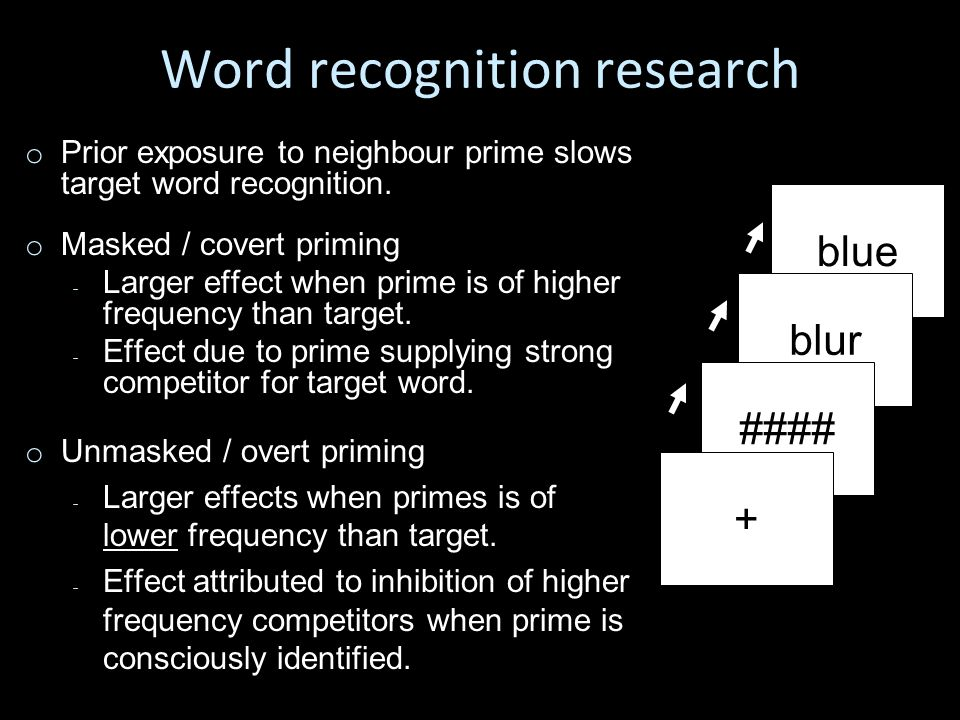 o o Prior exposure to neighbour prime slows target word recognition.