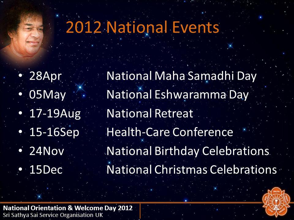2012 National Events 28AprNational Maha Samadhi Day 05MayNational Eshwaramma Day 17-19AugNational Retreat 15-16SepHealth-Care Conference 24NovNational Birthday Celebrations 15DecNational Christmas Celebrations National Orientation & Welcome Day 2012 Sri Sathya Sai Service Organisation UK