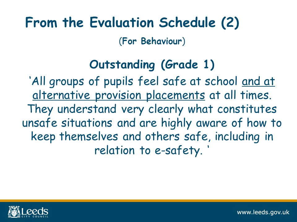 From the Evaluation Schedule (2) (For Behaviour) Outstanding (Grade 1) 'All groups of pupils feel safe at school and at alternative provision placements at all times.