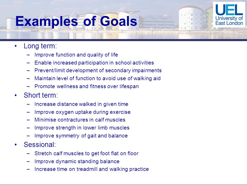 Examples of Goals Long term: –Improve function and quality of life –Enable increased participation in school activities –Prevent/limit development of secondary impairments –Maintain level of function to avoid use of walking aid –Promote wellness and fitness over lifespan Short term: –Increase distance walked in given time –Improve oxygen uptake during exercise –Minimise contractures in calf muscles –Improve strength in lower limb muscles –Improve symmetry of gait and balance Sessional: –Stretch calf muscles to get foot flat on floor –Improve dynamic standing balance –Increase time on treadmill and walking practice