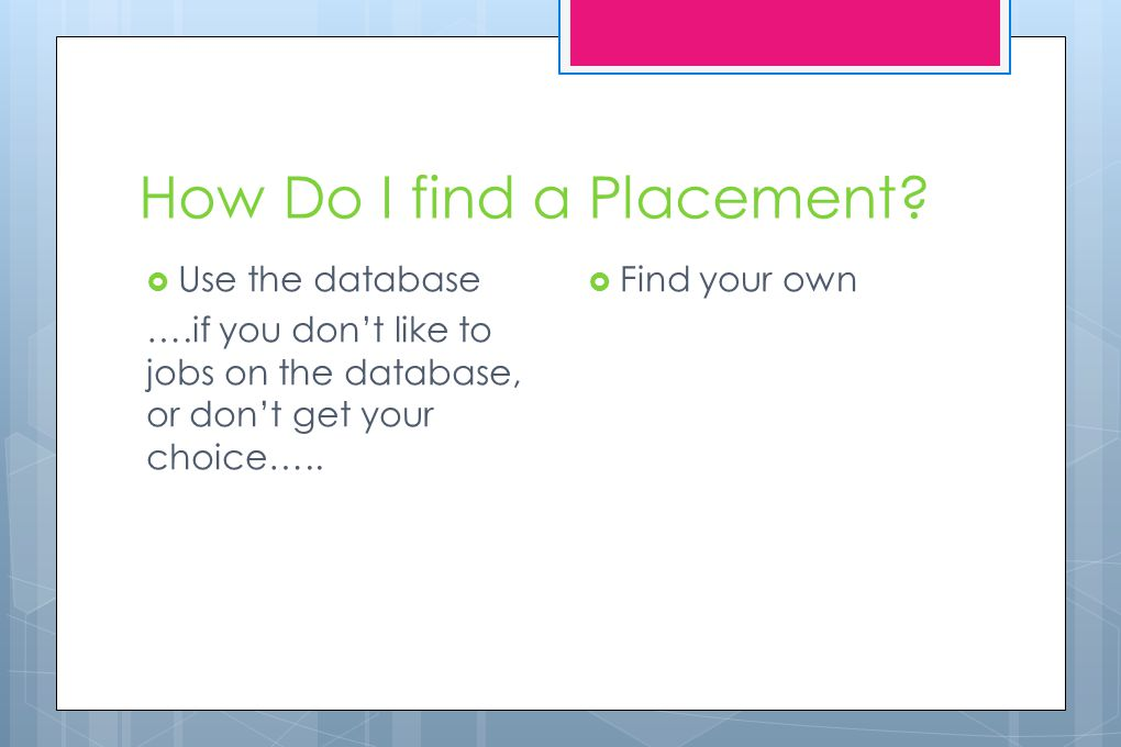 Using the database…. The database is an online selection of placements available to you.