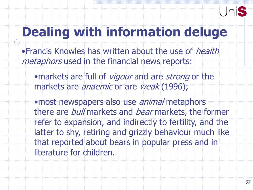 37 Dealing with information deluge Francis Knowles has written about the use of health metaphors used in the financial news reports: markets are full of vigour and are strong or the markets are anaemic or are weak (1996); most newspapers also use animal metaphors – there are bull markets and bear markets, the former refer to expansion, and indirectly to fertility, and the latter to shy, retiring and grizzly behaviour much like that reported about bears in popular press and in literature for children.