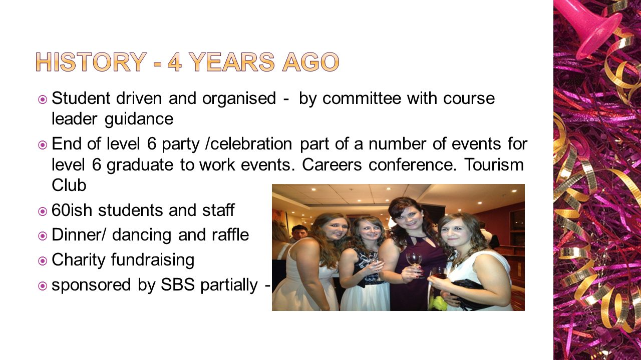  Student driven and organised - by committee with course leader guidance  End of level 6 party /celebration part of a number of events for level 6 graduate to work events.