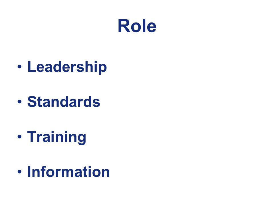 Role Leadership Standards Training Information