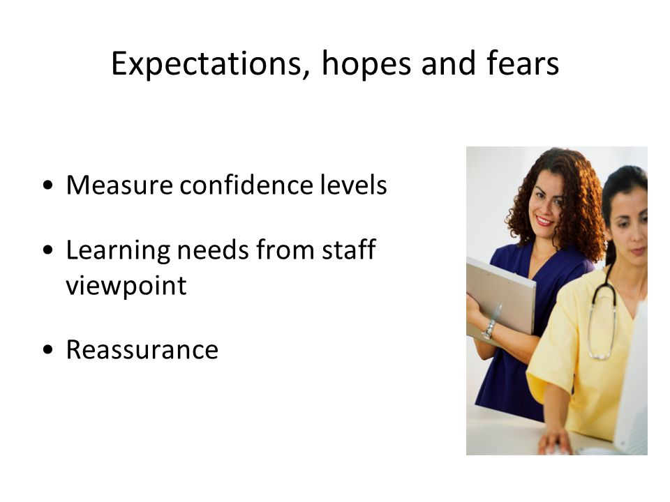 Expectations, hopes and fears Measure confidence levels Learning needs from staff viewpoint Reassurance