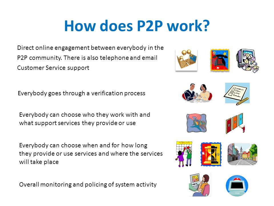 How does P2P work.Direct online engagement between everybody in the P2P community.