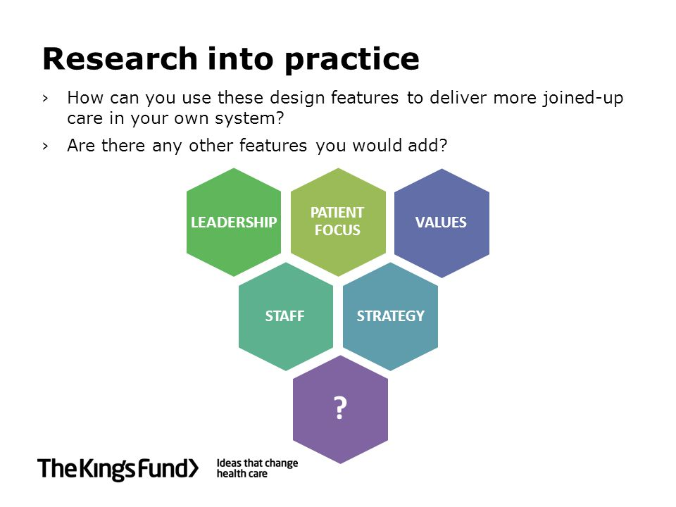 Research into practice LEADERSHIP ›How can you use these design features to deliver more joined-up care in your own system.