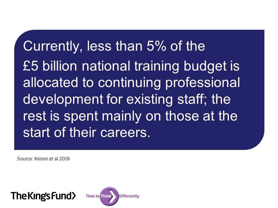 Currently, less than 5% of the £5 billion national training budget is allocated to continuing professional development for existing staff; the rest is spent mainly on those at the start of their careers.