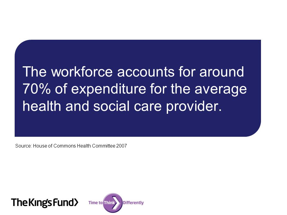 The workforce accounts for around 70% of expenditure for the average health and social care provider.