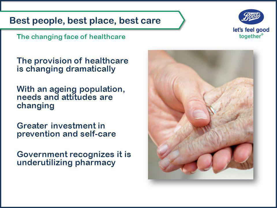 The provision of healthcare is changing dramatically With an ageing population, needs and attitudes are changing Greater investment in prevention and self-care Government recognizes it is underutilizing pharmacy Best people, best place, best care The changing face of healthcare