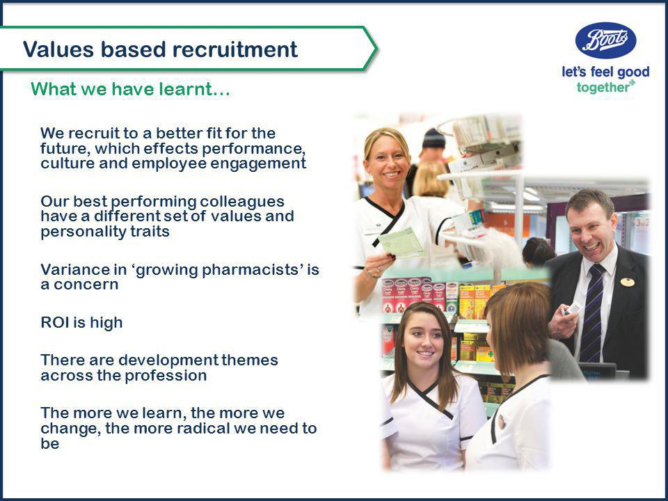 We recruit to a better fit for the future, which effects performance, culture and employee engagement Our best performing colleagues have a different set of values and personality traits Variance in 'growing pharmacists' is a concern ROI is high There are development themes across the profession The more we learn, the more we change, the more radical we need to be What we have learnt… Values based recruitment