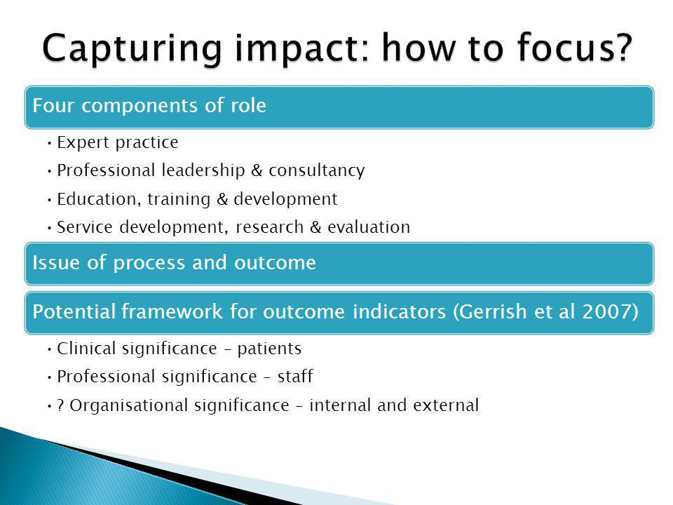 Four components of role Expert practice Professional leadership & consultancy Education, training & development Service development, research & evaluation Issue of process and outcomePotential framework for outcome indicators (Gerrish et al 2007) Clinical significance – patients Professional significance – staff .
