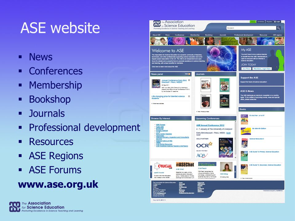 ASE website  News  Conferences  Membership  Bookshop  Journals  Professional development  Resources  ASE Regions  ASE Forums www.ase.org.uk Booksales Teaching Assistants Box of Tricks Teaching Assistants Box of Tricks 2009 The Teaching Assistants' Box of Tricks is a 128-page book with an accompanying CD that holds the e-resources – selected pages from the book for use in...