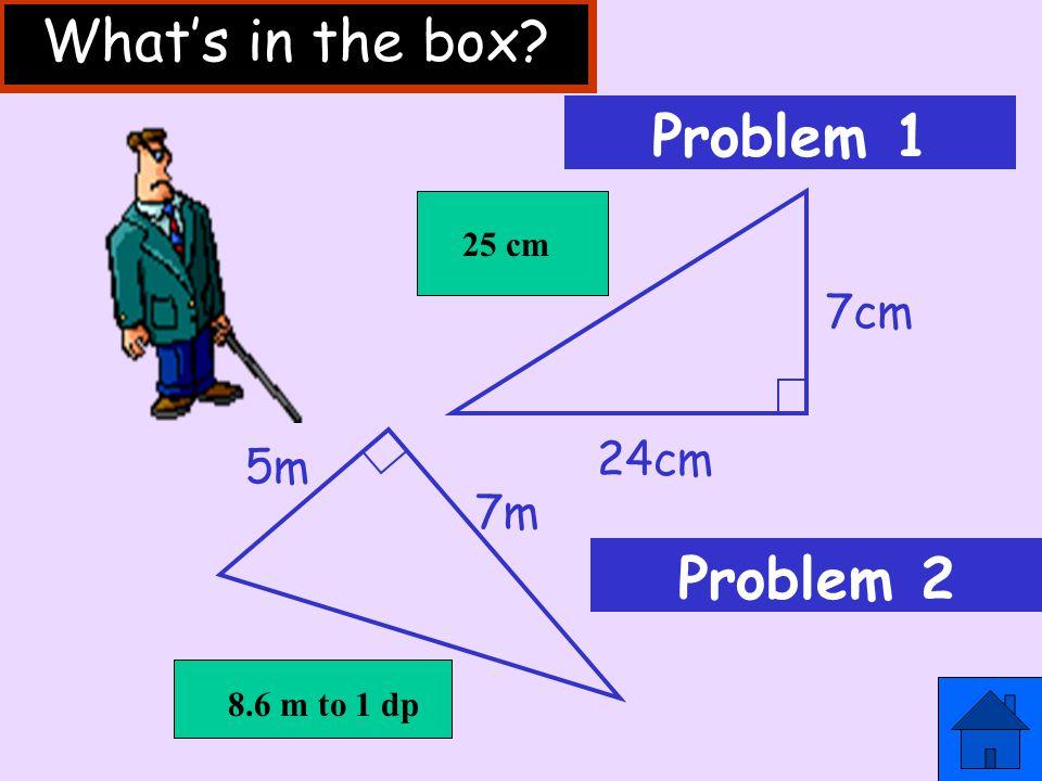 x 6m 4m s y z x²=y²+ z² s²=4²+ 6² s²=16 + 36 s²= 52 s = √ 52 =7.2m (1 d.p.) Example 2