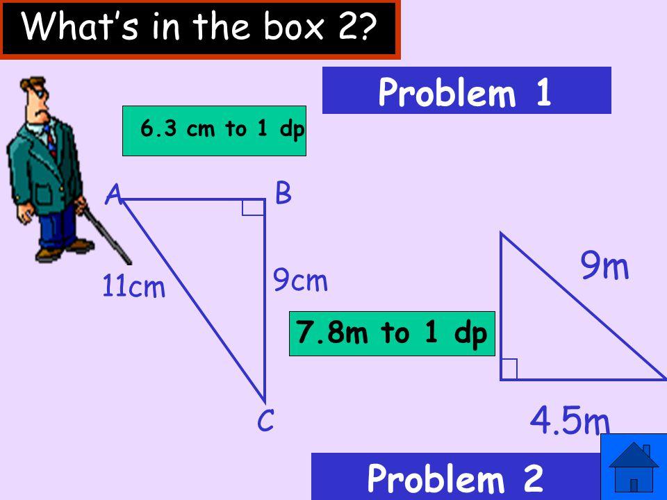 x z x²= y²+ z² 11²= 9²+ PQ² 121 = 81 + PQ² 121 – 81 = PQ² PQ = √ 40 = 6.3cm (1 d.p.) PQ²= 40 y 9cm P 11cm R Q Example 2 81 Change side, change sign!