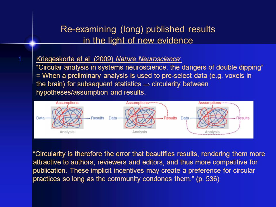 "Re-examining (long) published results in the light of new evidence 1.Kriegeskorte et al. (2009) Nature Neuroscience: ""Circular analysis in systems neu"