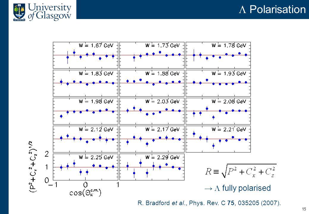 15  Polarisation →  fully polarised R. Bradford et al., Phys. Rev. C 75, 035205 (2007).