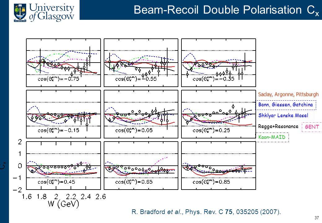 37 Beam-Recoil Double Polarisation C xGENT Saclay, Argonne, Pittsburgh Bonn, Giessen, Gatchina Kaon-MAID Regge+Resonance Shklyar Lenske Mosel R. Bradf