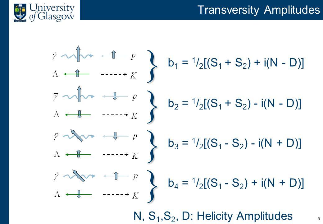 5 Transversity Amplitudes b 1 = 1 / 2 [(S 1 + S 2 ) + i(N - D)] } } } } b 2 = 1 / 2 [(S 1 + S 2 ) - i(N - D)] b 3 = 1 / 2 [(S 1 - S 2 ) - i(N + D)] b