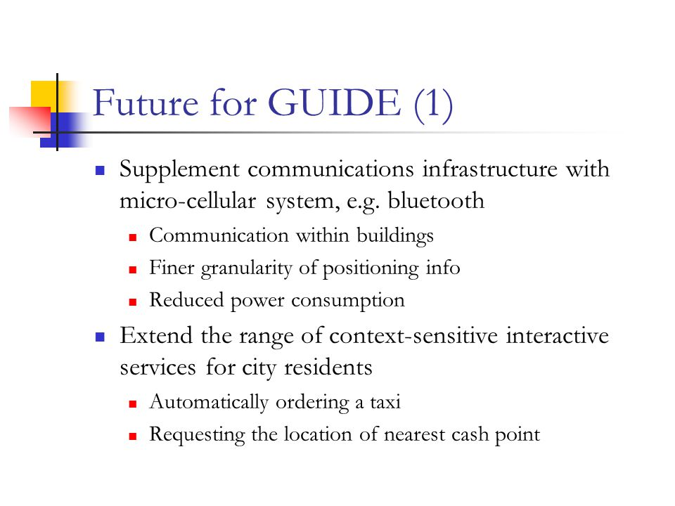 Future for GUIDE (1) Supplement communications infrastructure with micro-cellular system, e.g.