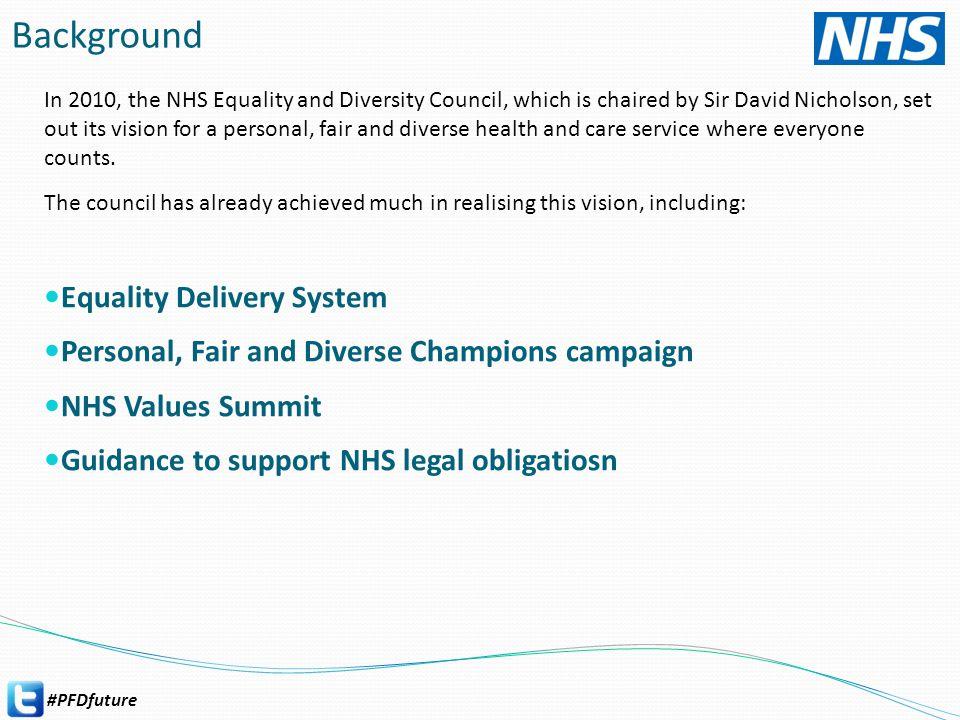 #PFDfuture Key milestones – developing the strategy Launch NOV 2013 NHS Values Summit Leeds Online engagement EDC Sounding meeting Webinar NHS Values Summit 2 Bristol