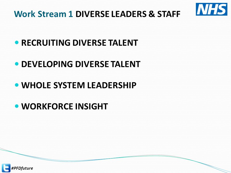 #PFDfuture RECRUITING DIVERSE TALENT DEVELOPING DIVERSE TALENT WHOLE SYSTEM LEADERSHIP WORKFORCE INSIGHT Work Stream 1 DIVERSE LEADERS & STAFF