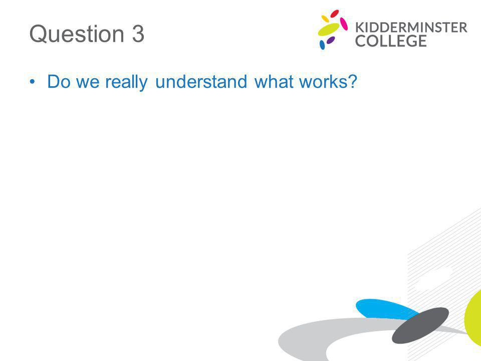 Question 3 Do we really understand what works