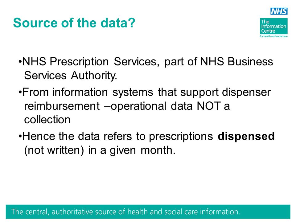Source of the data. NHS Prescription Services, part of NHS Business Services Authority.