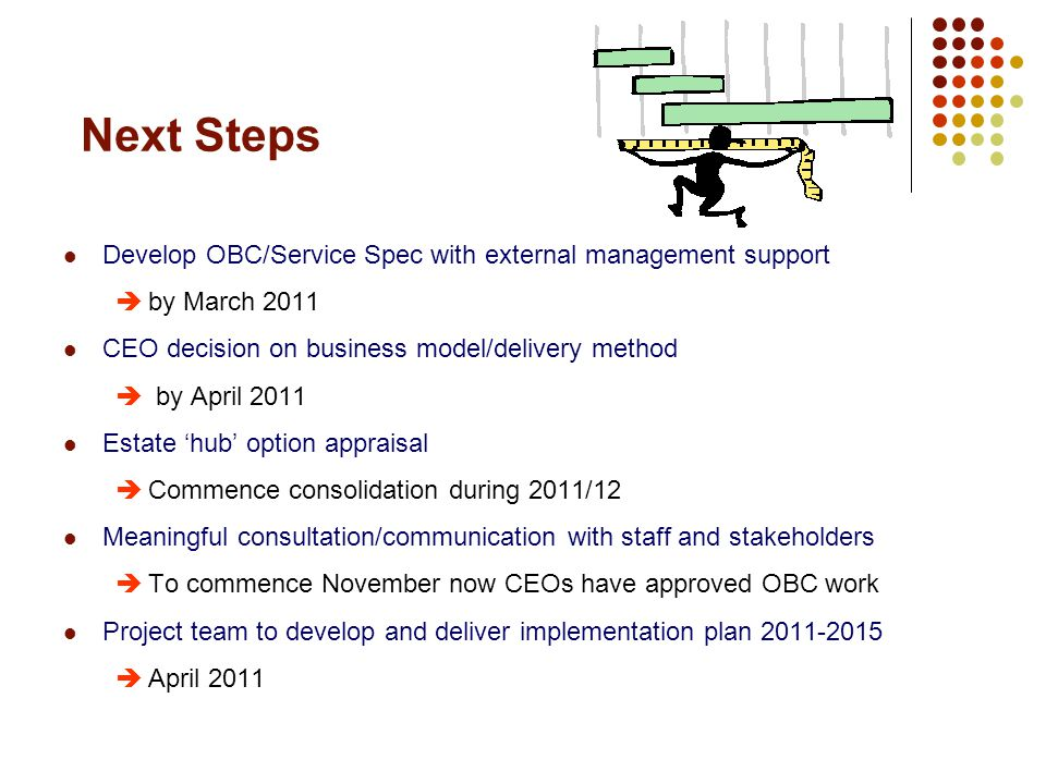 Next Steps Develop OBC/Service Spec with external management support  by March 2011 CEO decision on business model/delivery method  by April 2011 Estate 'hub' option appraisal  Commence consolidation during 2011/12 Meaningful consultation/communication with staff and stakeholders  To commence November now CEOs have approved OBC work Project team to develop and deliver implementation plan  April 2011