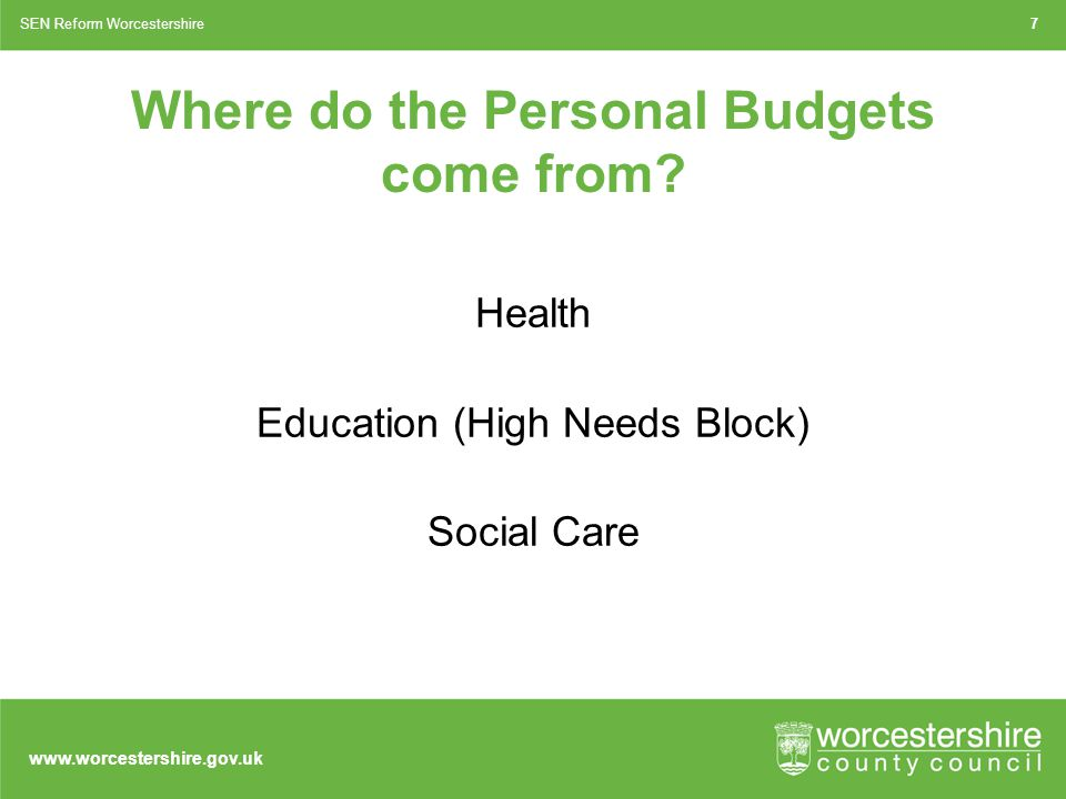 www.worcestershire.gov.uk Where do the Personal Budgets come from.