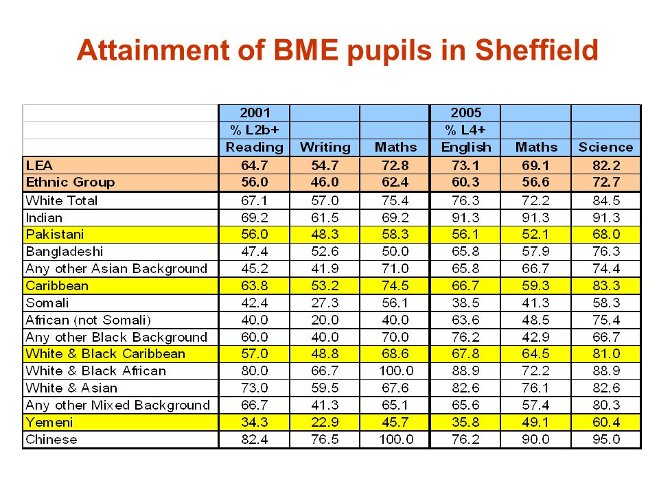 Attainment of BME pupils in Sheffield
