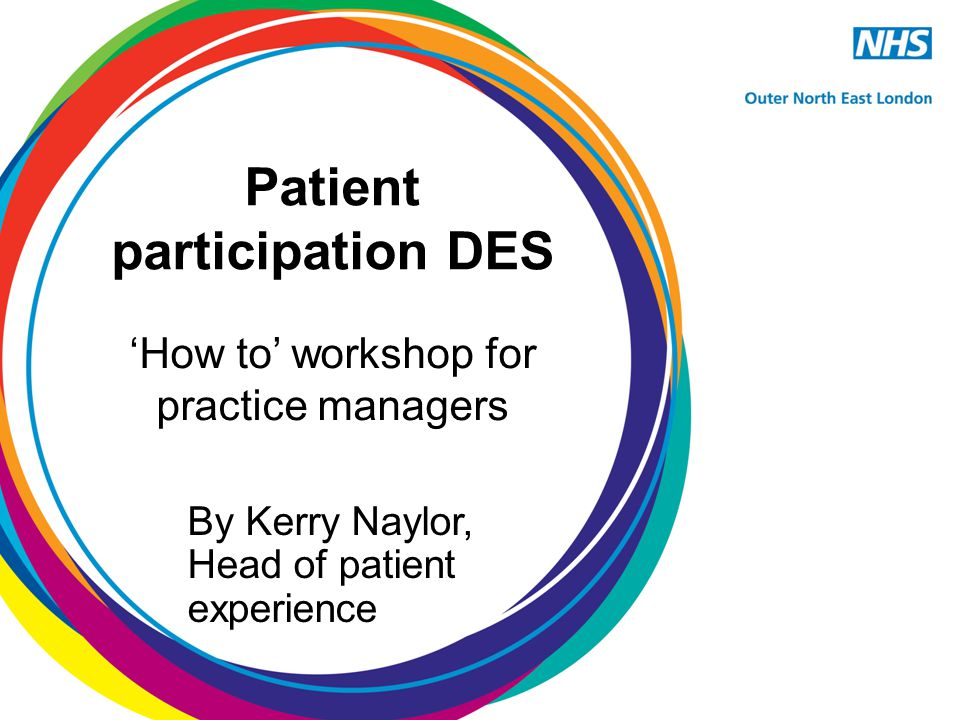 Key objectives Ensure patients are involved in decisions about the range and quality of services provided Reward and encourage practices for routinely asking for and acting on the views of their patients Publish patient feedback on practice websites