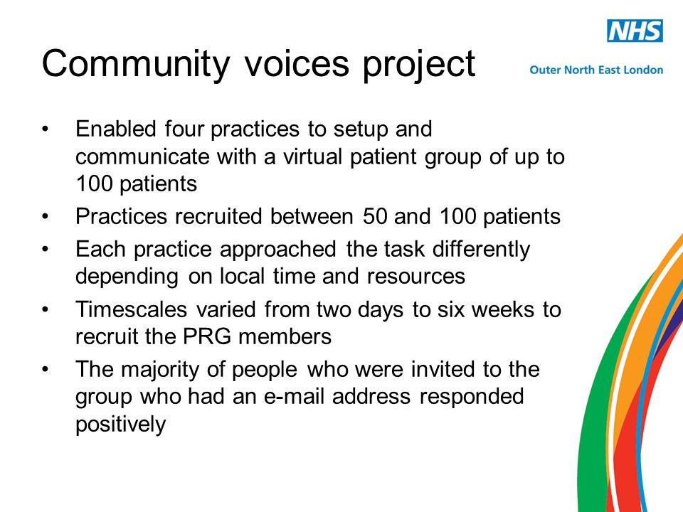 Community voices project Enabled four practices to setup and communicate with a virtual patient group of up to 100 patients Practices recruited between 50 and 100 patients Each practice approached the task differently depending on local time and resources Timescales varied from two days to six weeks to recruit the PRG members The majority of people who were invited to the group who had an e-mail address responded positively
