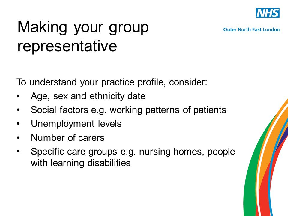 Making your group representative To understand your practice profile, consider: Age, sex and ethnicity date Social factors e.g.