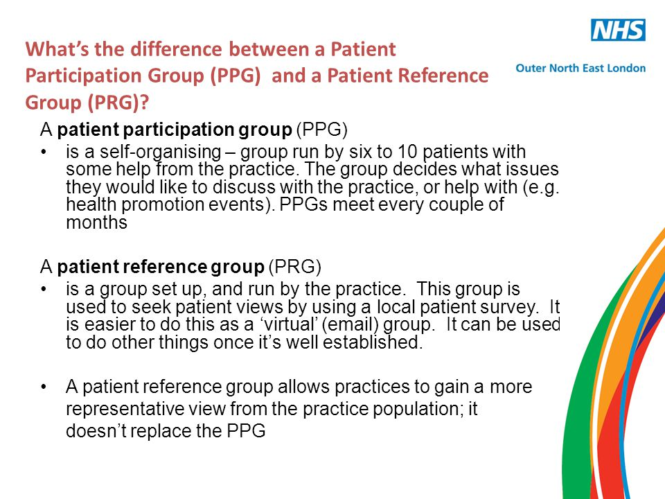 Key steps 1.Set up a PRG to gain views of patients 2.Agree areas of priority with the PRG – include these in an annual local survey 3.Collate patient views through the use of survey 4.Discuss survey findings with PRG and agree any changes to services.