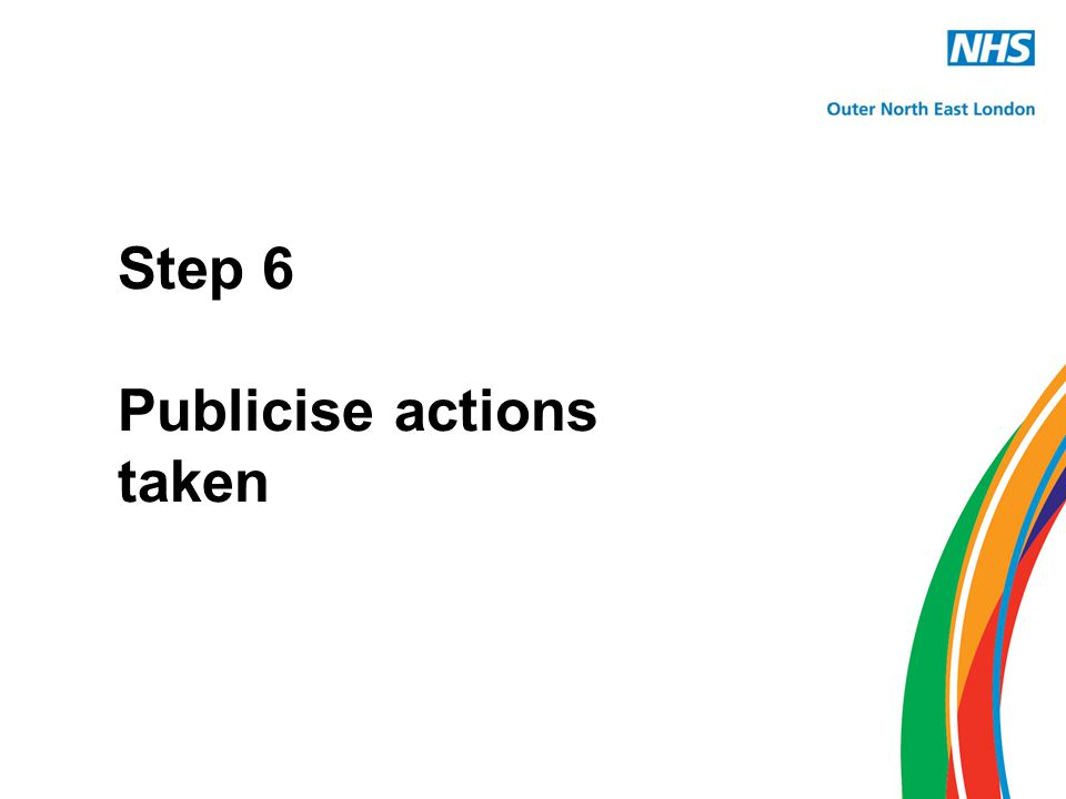 Step 6 Publicise actions taken
