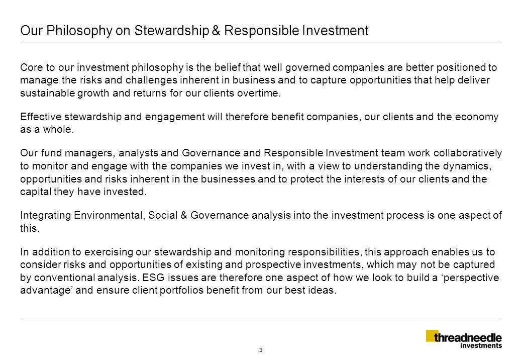 Signatories to: The UK Stewardship Code in 2010 The UN backed Principles for Responsible Investment (PRI) since launch in 2006 The Extractive Industries Transparency Initiative (EITI) since 2006 The Carbon Disclosure Project (CDP) carbon, water and forestry since 2005, 2009, 2010 Active members of: The Association of British Insurers (ABI) since 1998 United Kingdom Sustainable Investment and Finance Association (UKSIF) since 1998 The European Social Investment Forum (EUROSIF) since 2008 The Asian Corporate Governance Association (ACGA) since 2010 The International Corporate Governance Network (ICGN) since 2011 Global Investors Governance Forum (GIGN) since 2012 UK Corporate Governance Forum (CGF) since 2012 Industry collaboration and initiatives 4