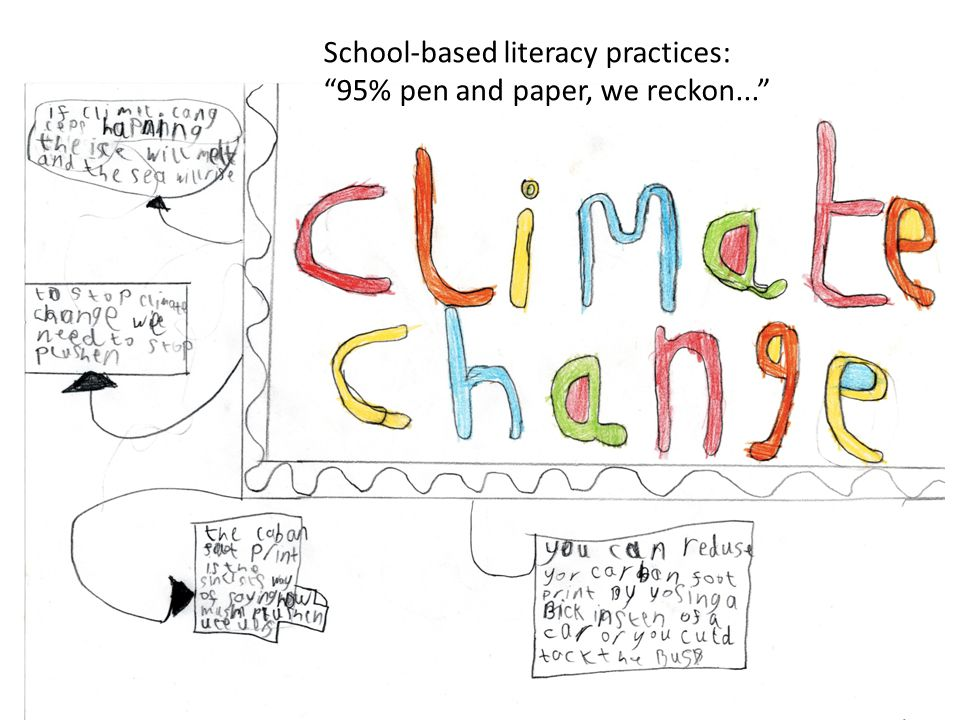School-based literacy practices: 95% pen and paper, we reckon...