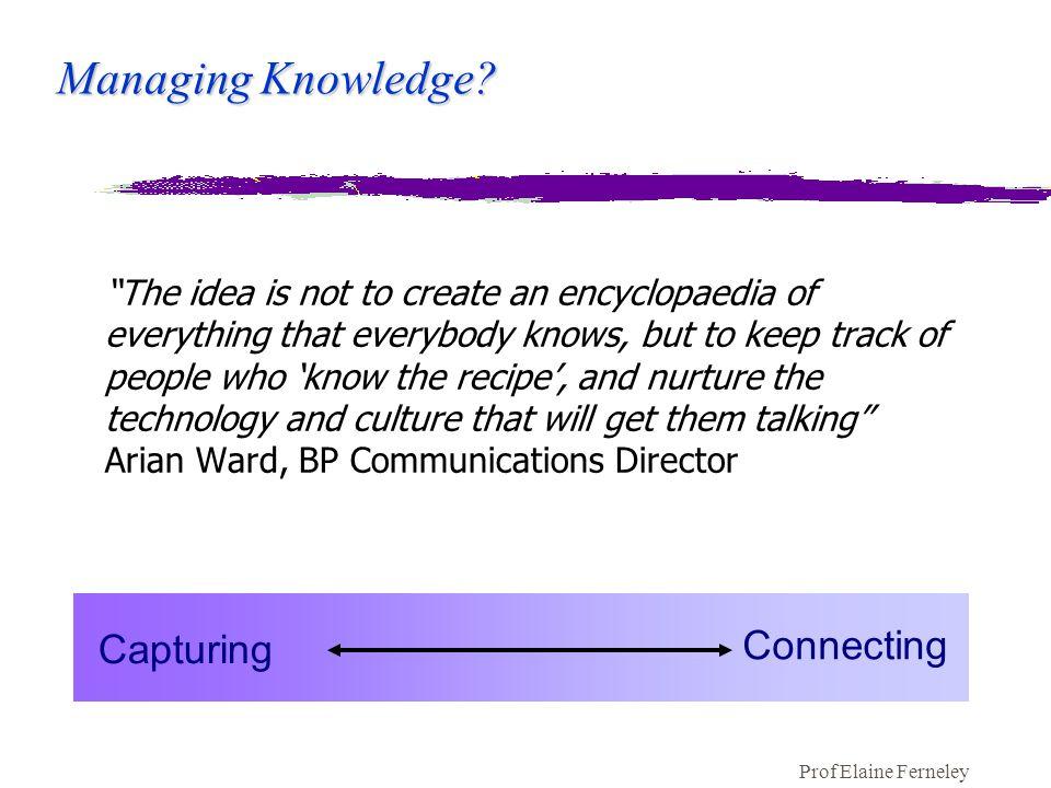 Prof Elaine Ferneley Managing Knowledge.