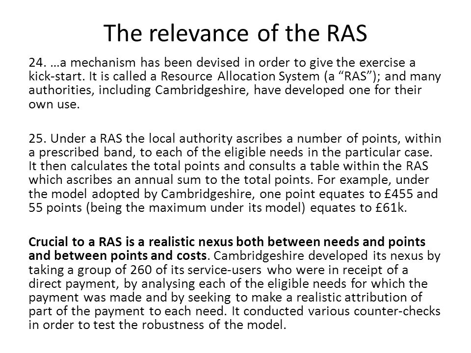 The relevance of the RAS 24.