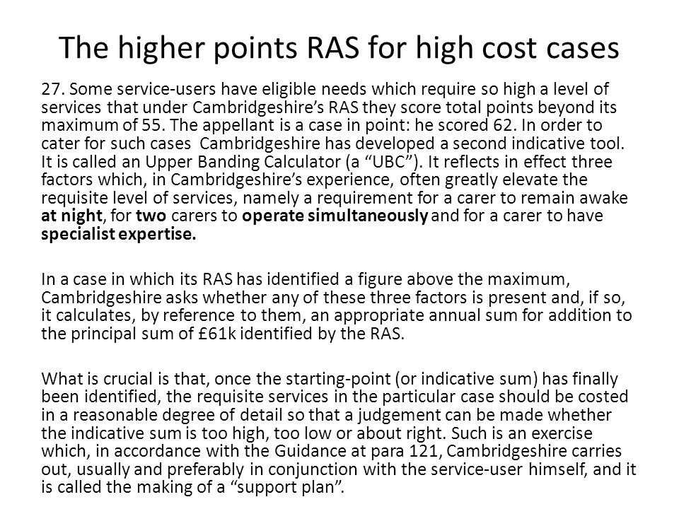 The higher points RAS for high cost cases 27.