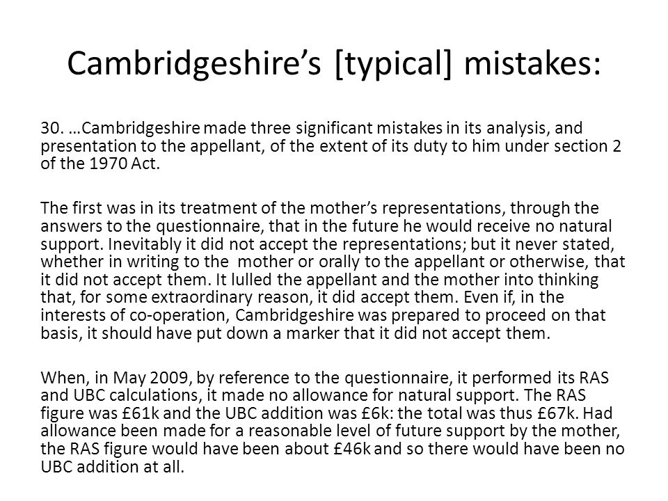 Cambridgeshire's [typical] mistakes: 30.