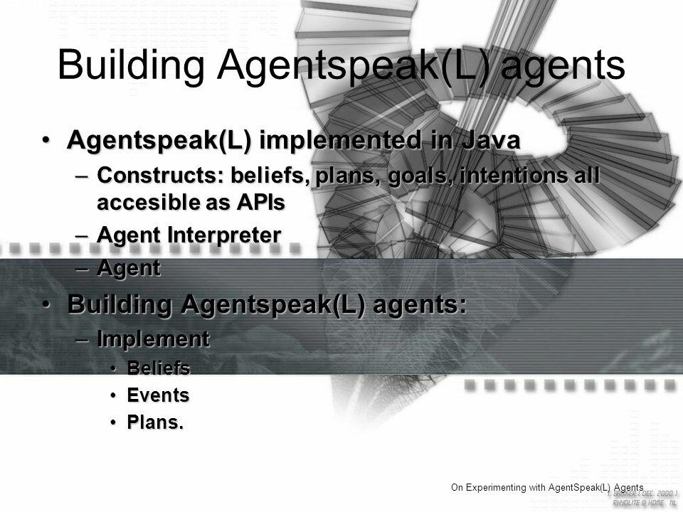 Building Agentspeak(L) agents Agentspeak(L) implemented in JavaAgentspeak(L) implemented in Java –Constructs: beliefs, plans, goals, intentions all accesible as APIs –Agent Interpreter –Agent Building Agentspeak(L) agents:Building Agentspeak(L) agents: –Implement BeliefsBeliefs EventsEvents Plans.Plans.
