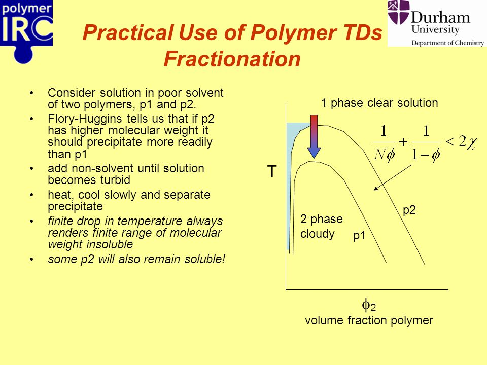 Practical Use of Polymer TDs Fractionation Consider solution in poor solvent of two polymers, p1 and p2. Flory-Huggins tells us that if p2 has higher