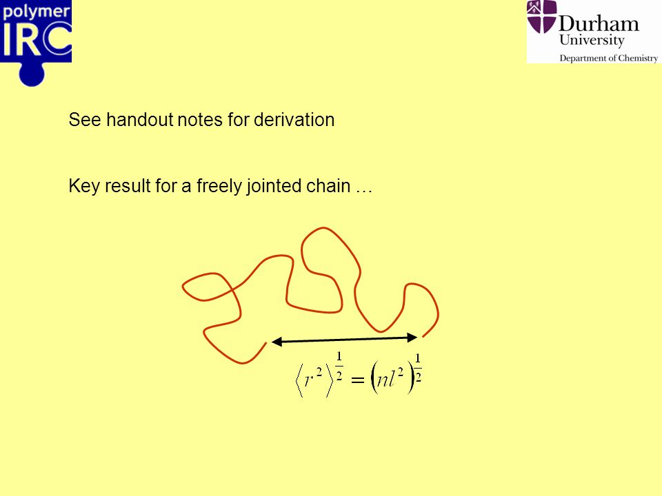 See handout notes for derivation Key result for a freely jointed chain …