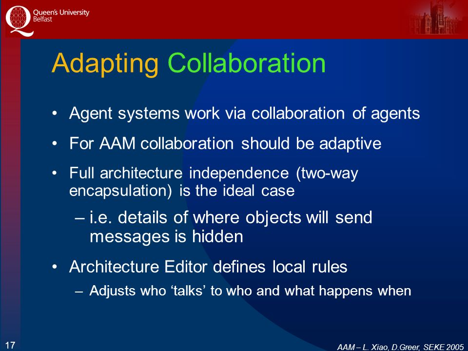 AAM – L. Xiao, D.Greer, SEKE 2005 17 Adapting Collaboration Agent systems work via collaboration of agents For AAM collaboration should be adaptive Fu