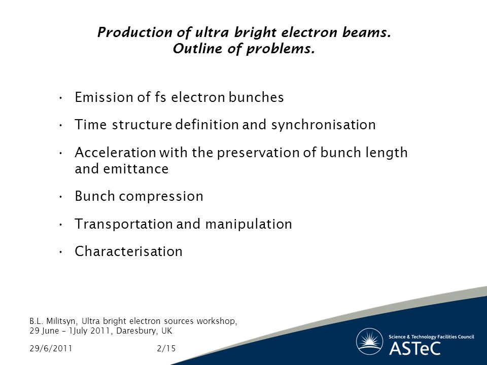 Production of ultra bright electron beams. Outline of problems.